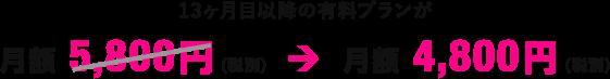 月額 4,800円(税別)